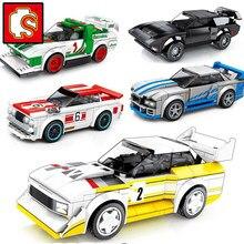 Sembo bloki prędkości mistrzów miasta Racer słynny samochód Super Diy dzieci Moc zabawki zestawy modelu budynku sport 2021 technologii