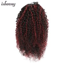 "Isheeny 8""-18"" Afro Kinky Curly Ponytail Extensions Clip-Ins Piano Color 1B 99J# Brazilian Remy Human Hair Adjustable Pony Tail(China)"