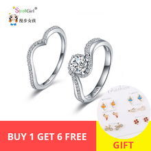StrollGirl New arrival 925 Sterling Silver Rings Cubic Zirconia Fashion Detachable Double Ring For Women Jewelry Valentine Gift