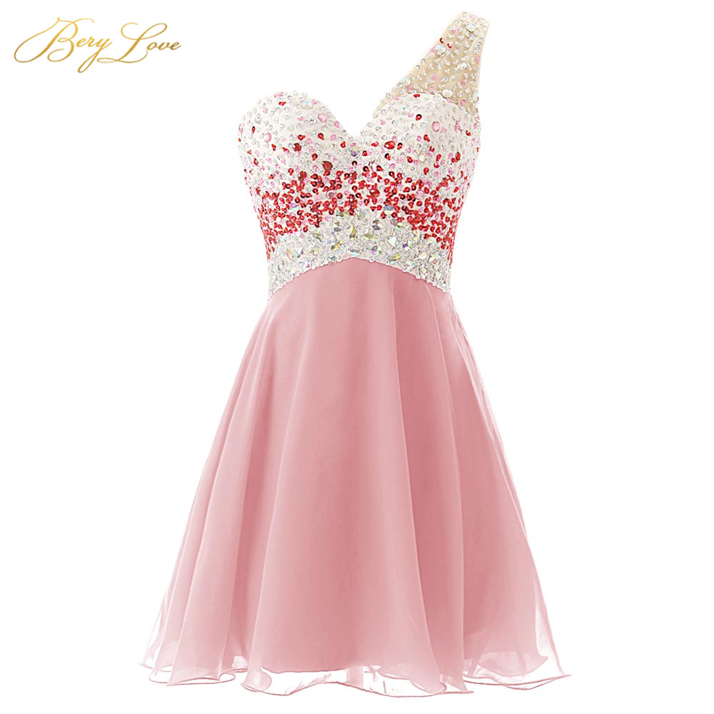 Young Girl Blush Pink Homecoming Dress 2020 One Shoulder Sequin Bead Homecoming Gown Chiffon Empire Party Gown Graduation Dress