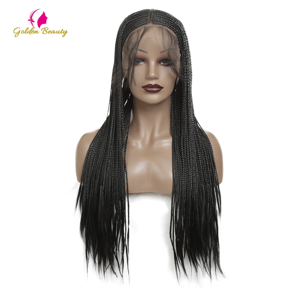 Lace 13Ч6 Black Micro Braids Synthetic Lace Front Wigs for Black Women with Baby Hair Cornrows Half Box Braided Wigs Gold Beauty