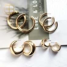 Женские массивные серьги кольца cc золотистые маленькие большие