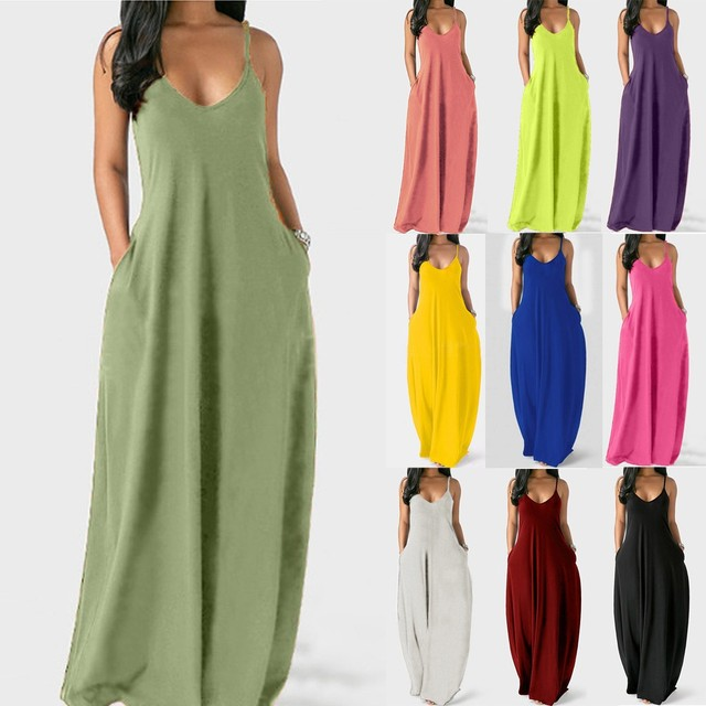 Fashion women's summer dress sexy large size solid color sleeveless O-neck pocket camisole long dress женское платье 50*