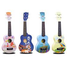 Ukulele 21 Polegada pintados à mão padrão dos desenhos animados 4 cordas uke baixo cordas instrumento musical perfeito para iniciantes