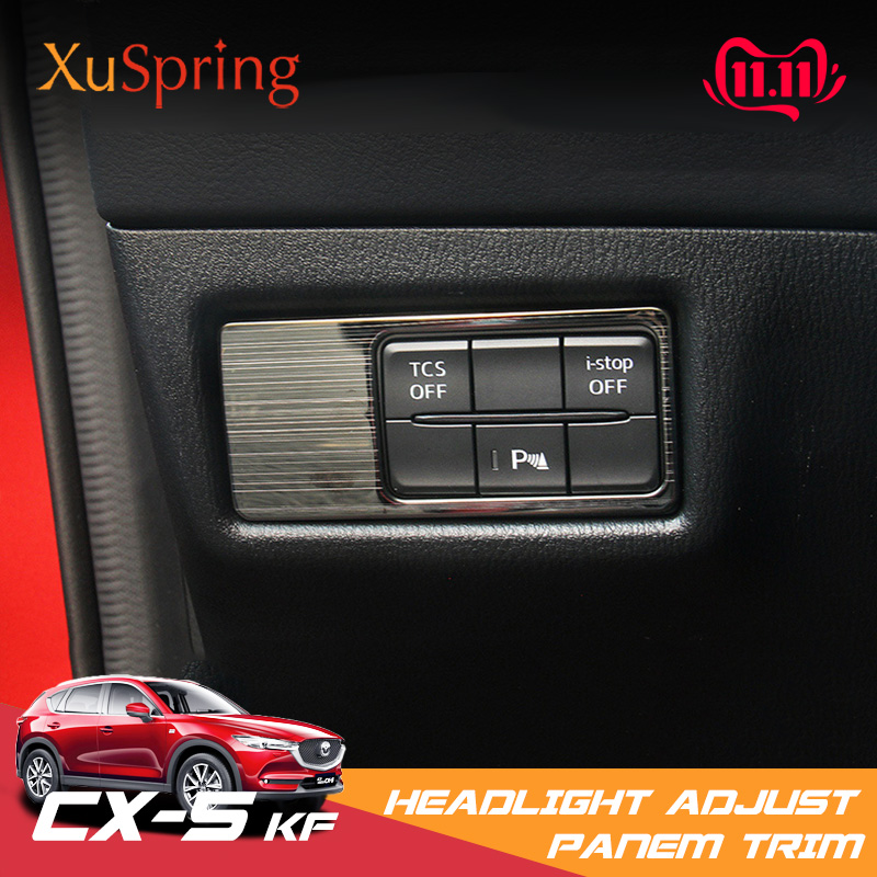 For Mazda CX-5 CX5 2017 2018 2019 Car Head Lamp Light Switch Headlight Adjustment Knob Panel Control Protective Trim Car Styling