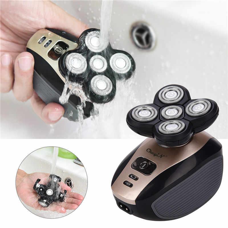 5 شفرات ماكينة حلاقة كهربائية للرجال 4D العائمة رئيس الشعر المتقلب USB قابلة للشحن الحلاقة تدوير فرشاة وجه الرجال مجموعة عناية شخصية P42