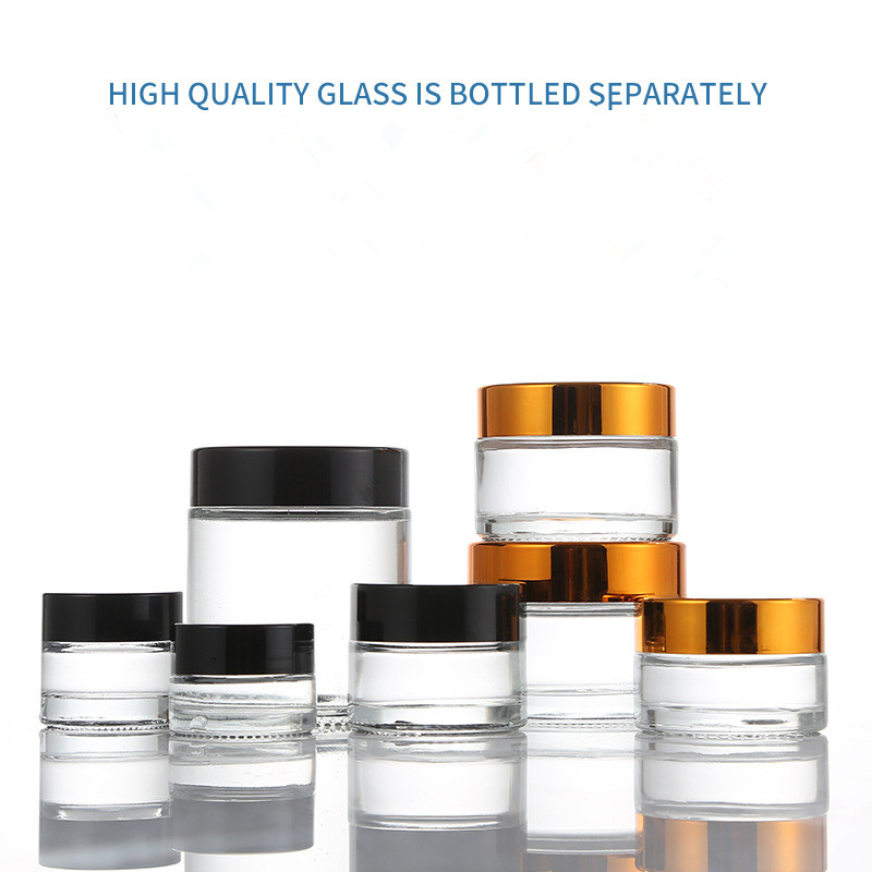 10g Clear Glass Cream Jar With Shiny Gold Aluminum Lid,cosmetic Jar,packing For Sample/eye Cream,100g Galss Bottle