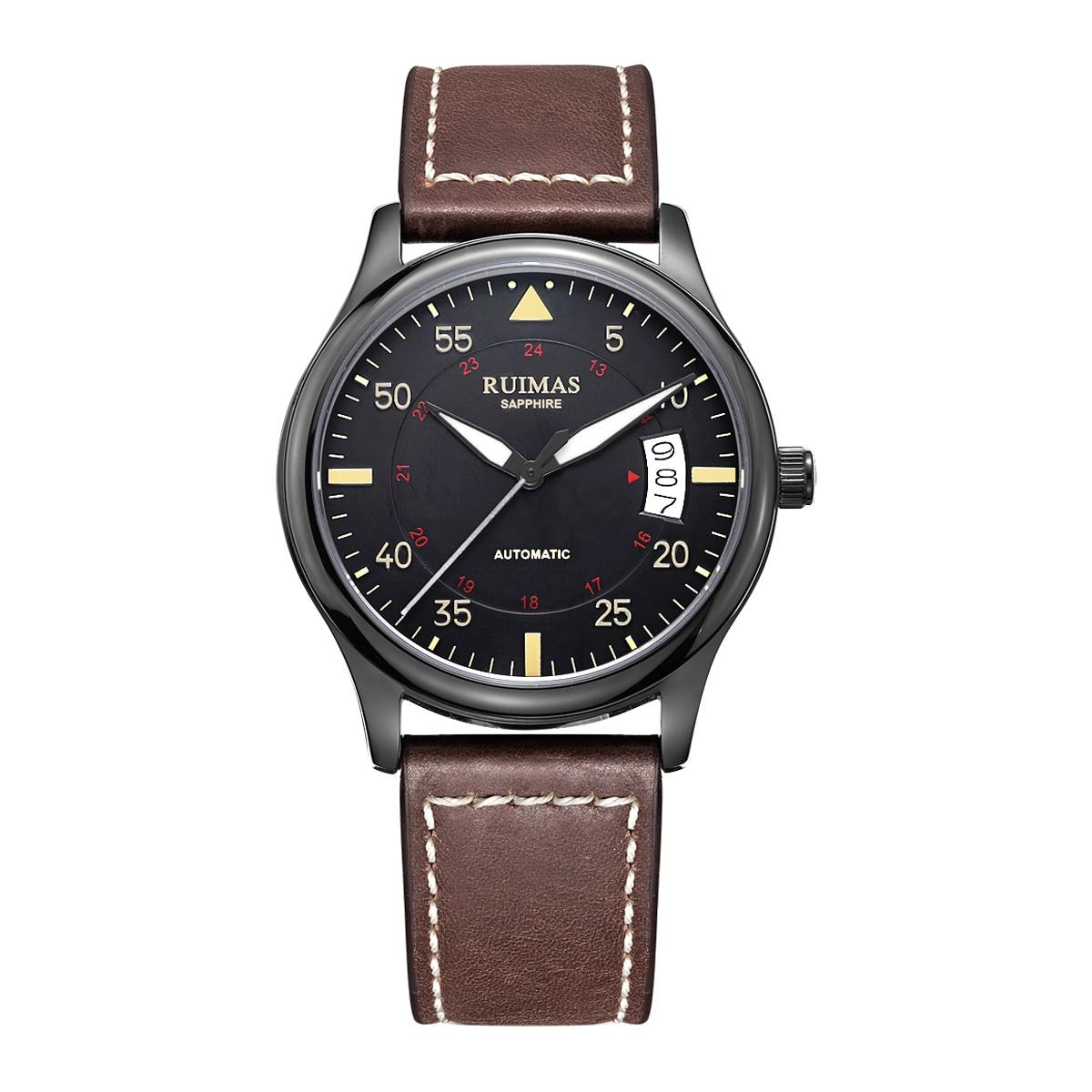 Ruimas Top marque montres hommes automatique mécanique montre-bracelet de luxe hommes cadeaux calendrier affichage bracelet en cuir horloge 6725