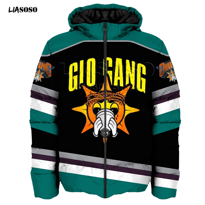LIASOSO new design winter 3D Print Down jacket men&women Rock Song Glo Gang Down jacket Hip Hop high quality Glo Gang pullover image