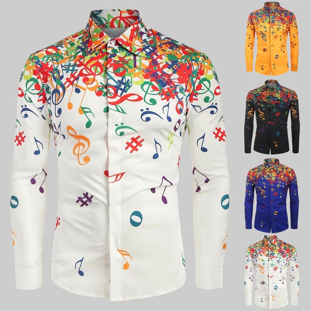 Dropshipping 20 Camisa de los hombres Novelty Blouse 2019 Men Casual Musical Note Pattern Casual Long Sleeves Artistic Shirt Top(China)