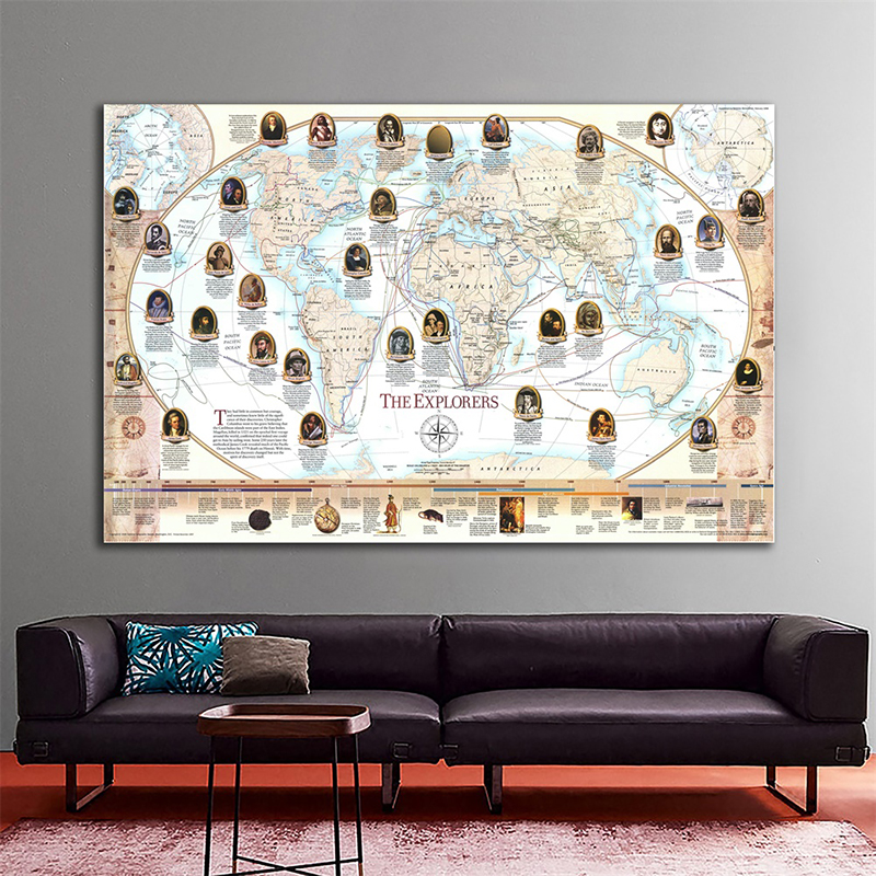 150x100cm Non-woven World Map Poster World Famous Navigator And Explorer Navigation Map By National Geographic Society