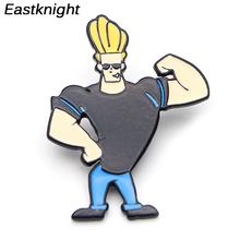 K87 Muscular Man Johnny Bravo Metal Enamel Pins and Brooches for Men Backpack/Bag Badge Denim Brooch Collar Jewelry 1pcs