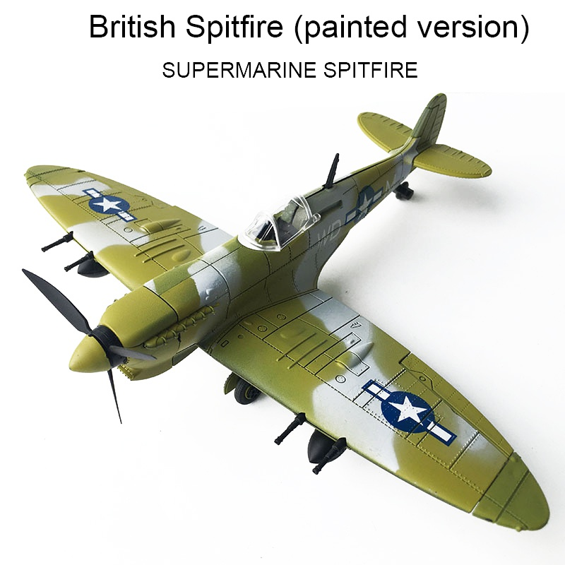 1:48 Assembled Model Aircraft Educational Toys 4D Spitfire Intercept Fighter Painted Version New Year Toys image