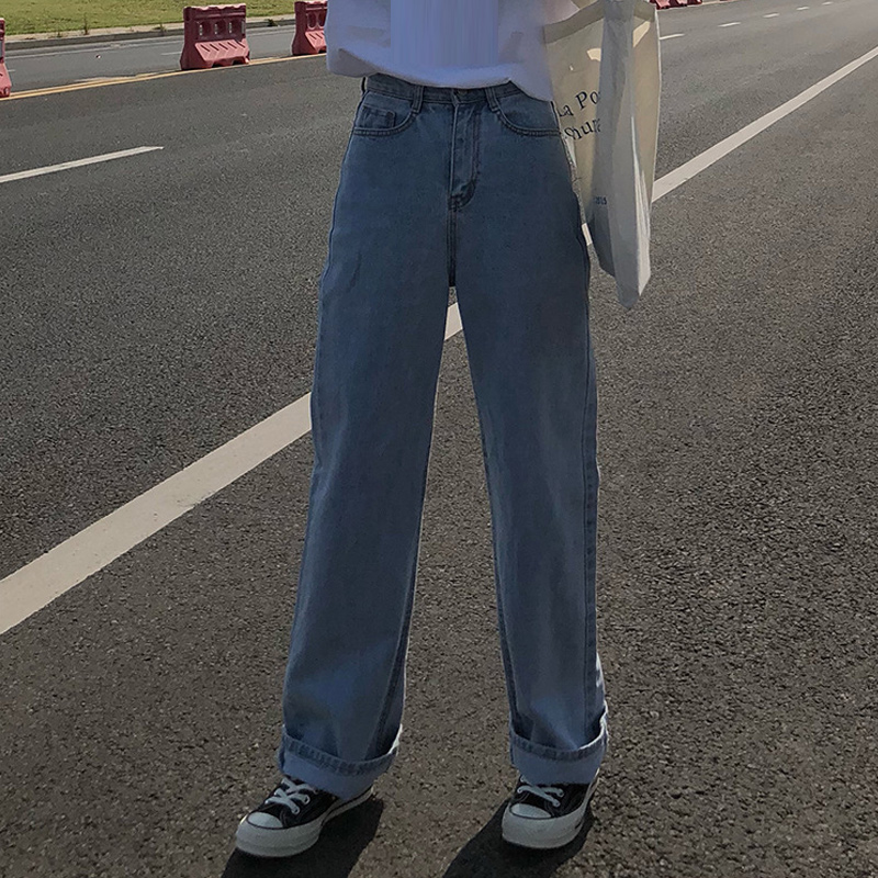 Women Autumn Korean Style High Waist Jeans Lady Casual Straight Denim Light Blue Jeans Womens Mom Jeans Loose Long Jeans