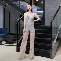Jumpsuit Evening Dresses 2020 New Arrival Lace Beaded Crystal O Neck Backless Dress Party for Women