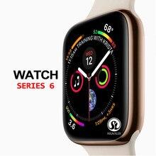 Скидка 50%, Смарт-часы серии 6, чехол для смарт-часов apple 5, 6, 7, iPhone, Android, смарт-телефон с пульсометром, педометром (красная кнопка)