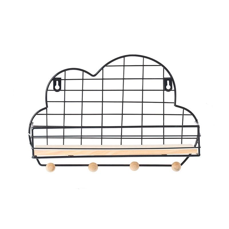 Cloud Shaped Hanging Wall Mounted Display Grid Storage Shelf Iron Storage Racks Organizer Organization Rack Crafts Home Decor