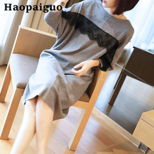 Oversize Lace Patchwork Knitted Autumn Dress Women Long Sleeve Korean Casual Office Loose Winter Plus Size