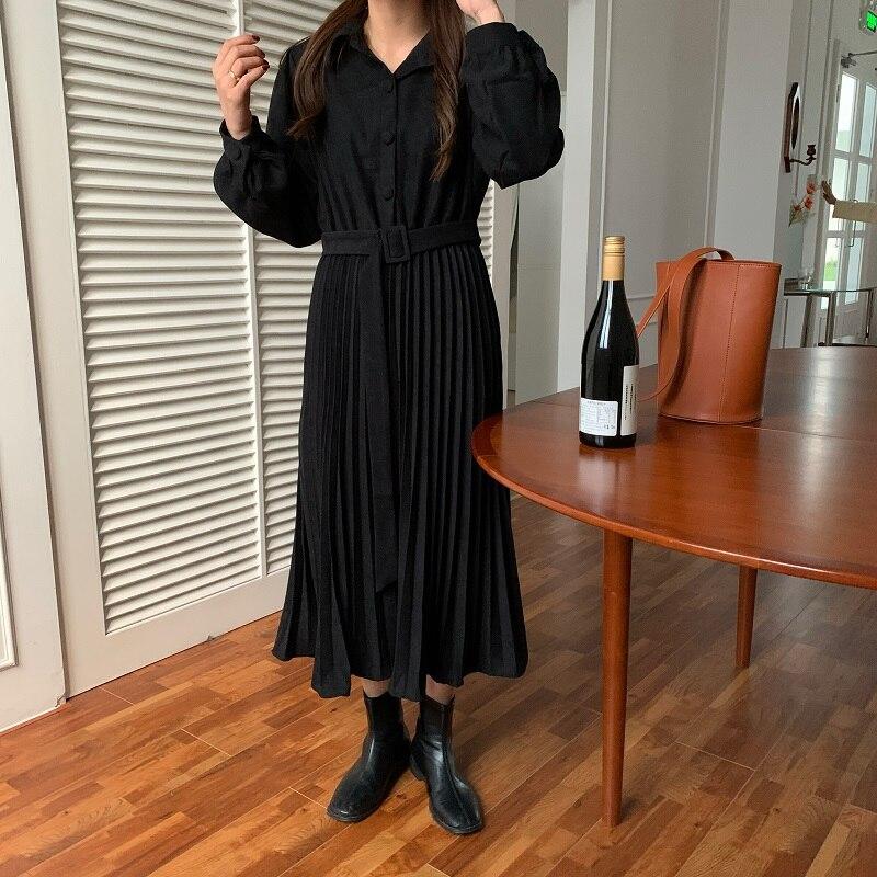 H4c535b153bfd4326939a6e7a273a5894T - Autumn Turn-Down Collar Long Sleeves Pleated Solid Midi Dress