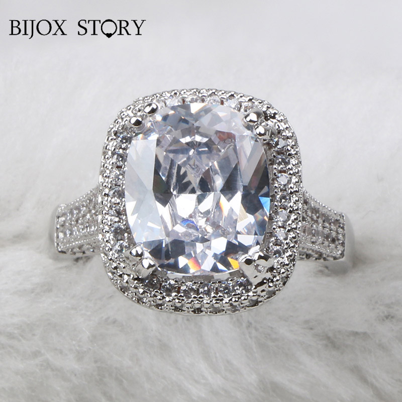 BIJOX STORY elegant female ring 925 sterling silver with oval shape AAA zircon gemstone Jewelry ring for Wedding Party size 6-10