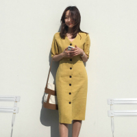 Women Summer Bodycon Long Cotton Shirt Dress Ladies Yellow V Neck Vestidos High Waist Sexy Robe Femme Sukienki Vestiti Donna
