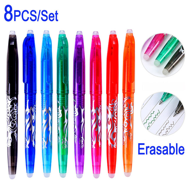 DELVTCH 0.5MM Erasable Suit Gel Pen Blue/Black Ink Magic Erasable Pen Refill and Pen Set For School Student Office Writing Tools 5