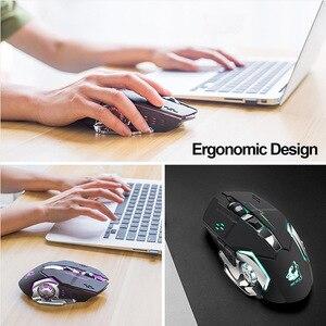 Image 5 - Drop schiff Wiederaufladbare Drahtlose Silent LED Backlit USB Optische Ergonomische Gaming Maus LOL Gaming Maus Surfen Drahtlose Maus
