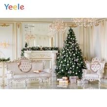 Yeele Merry Christmas Photography Backgrounds Tree Chandelier Sofa Indoor Custom Vinyl Photographic Backdrop For Photo Studio недорого