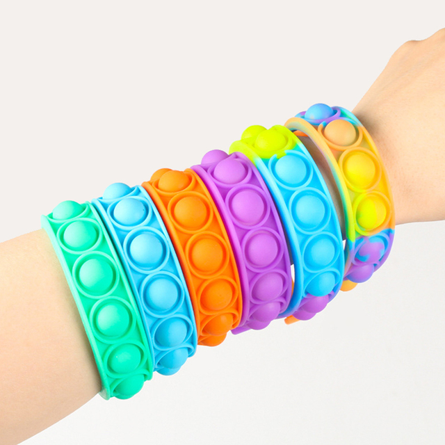 New Fidget Toys For Children Push Bubble Dimple Bracelet Decompression Toy Adults Anti Stress Reliever Sensory Toy Kids Gift 1
