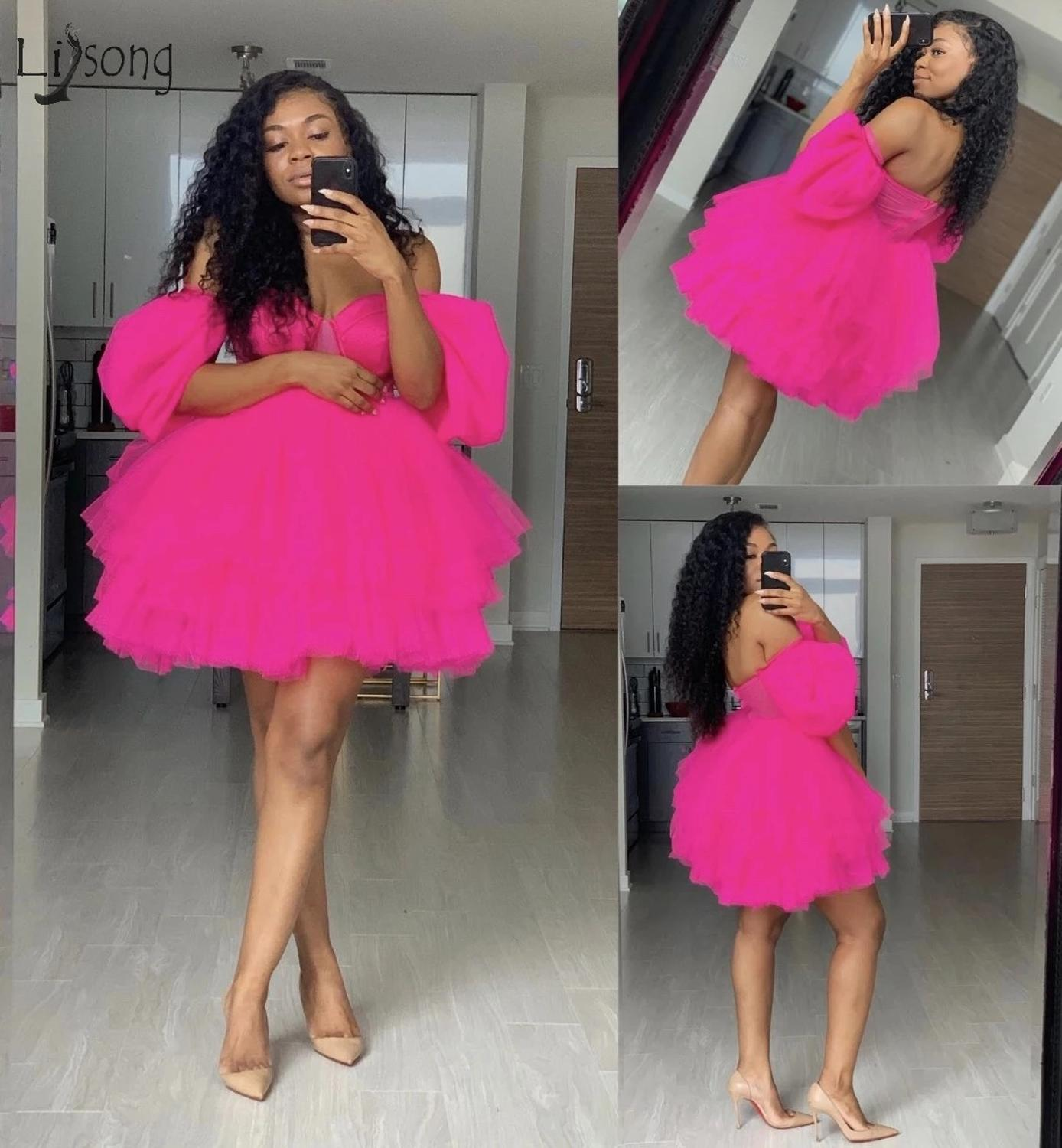 Trendy Hot Pink Puffy Tutu Short Cocktail Dresses 2019 Off The Shoulder Sexy Homecoming Dresses Puffy Party Dress Plus Size