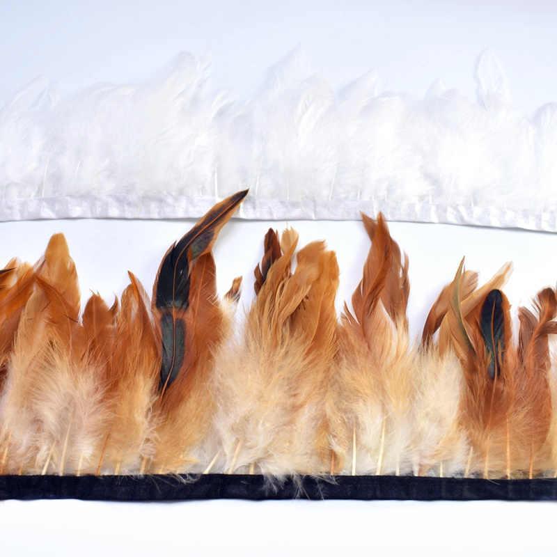 1 미터 자연 수탉 깃털 트림 프린지 공예 plumas 13-18cm 검은 깃털 리본 DIY 바느질 의류 파티 장식