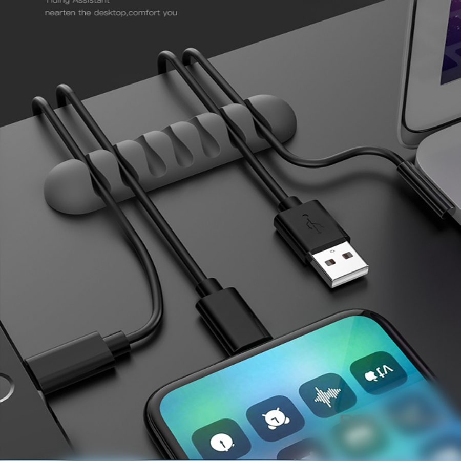 2PCS 5 Clips Cable Organizer Silicone USB Cable Winder Desktop Tidy Management 7 Clips Cable Holder For Mouse Headphone Wire