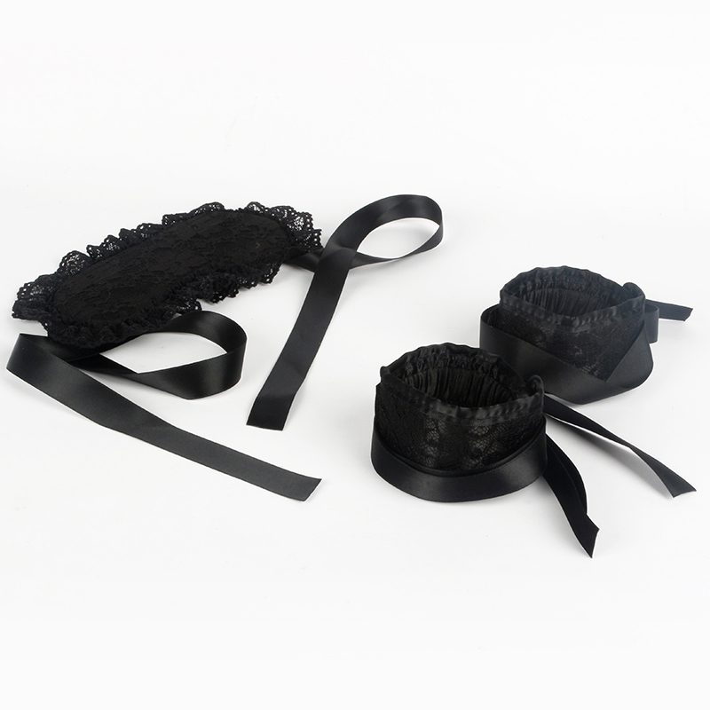 Sexy Lingerie Hot Erotic Lace Padded Eye Mask Blindfolded Patch + Bdsm Handcuffs For Sex Fetish Toy Women Exotic Apparel