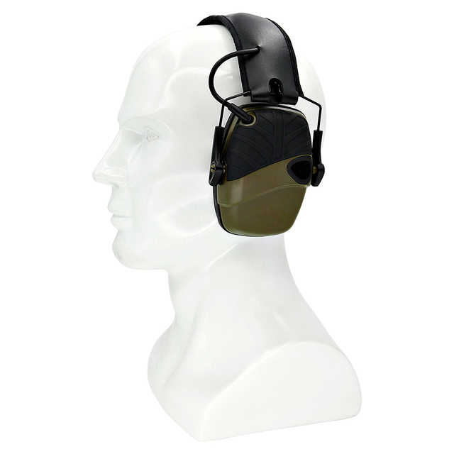 Foldable green electronic shooting earmuffs outdoor sports anti noise sound amplification hearing protection headphones
