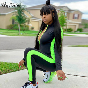 Image 2 - Hugcitar long sleeve striped patchwork zippers jumpsuit 2019 autumn winter stretchy streetwear outfits body