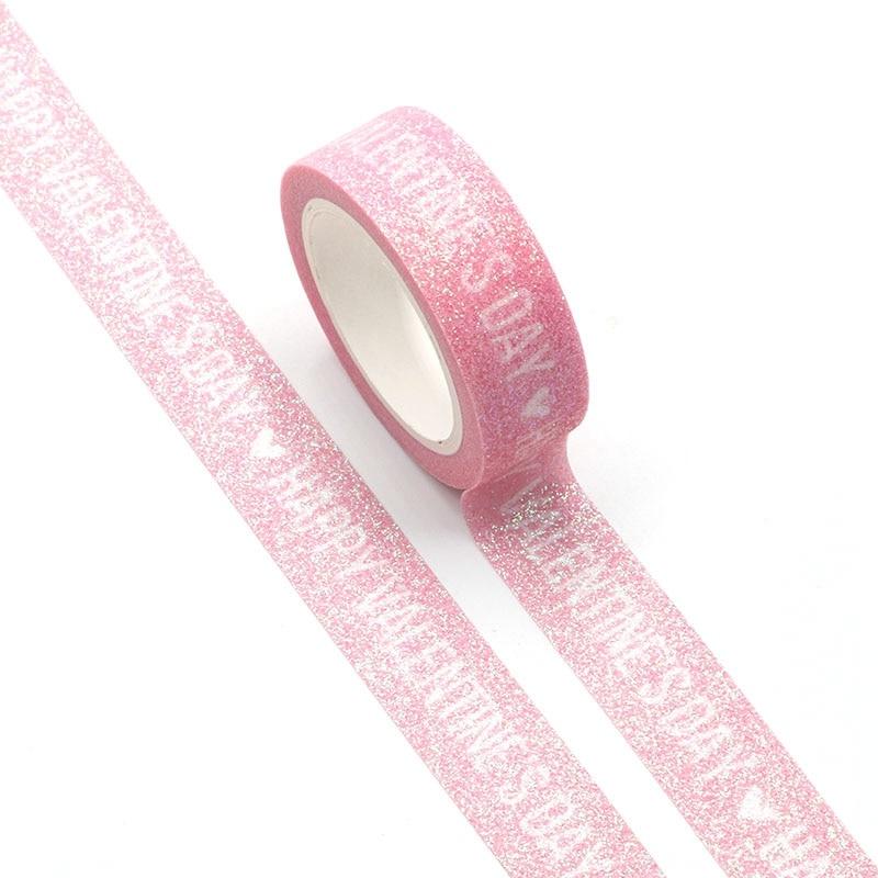 Happy Valentine's Day Words Pink Washi Tape Planner Scrapbooking Cute Cinta Adhesiva Decorativa Masking Tape Japanese Stationery