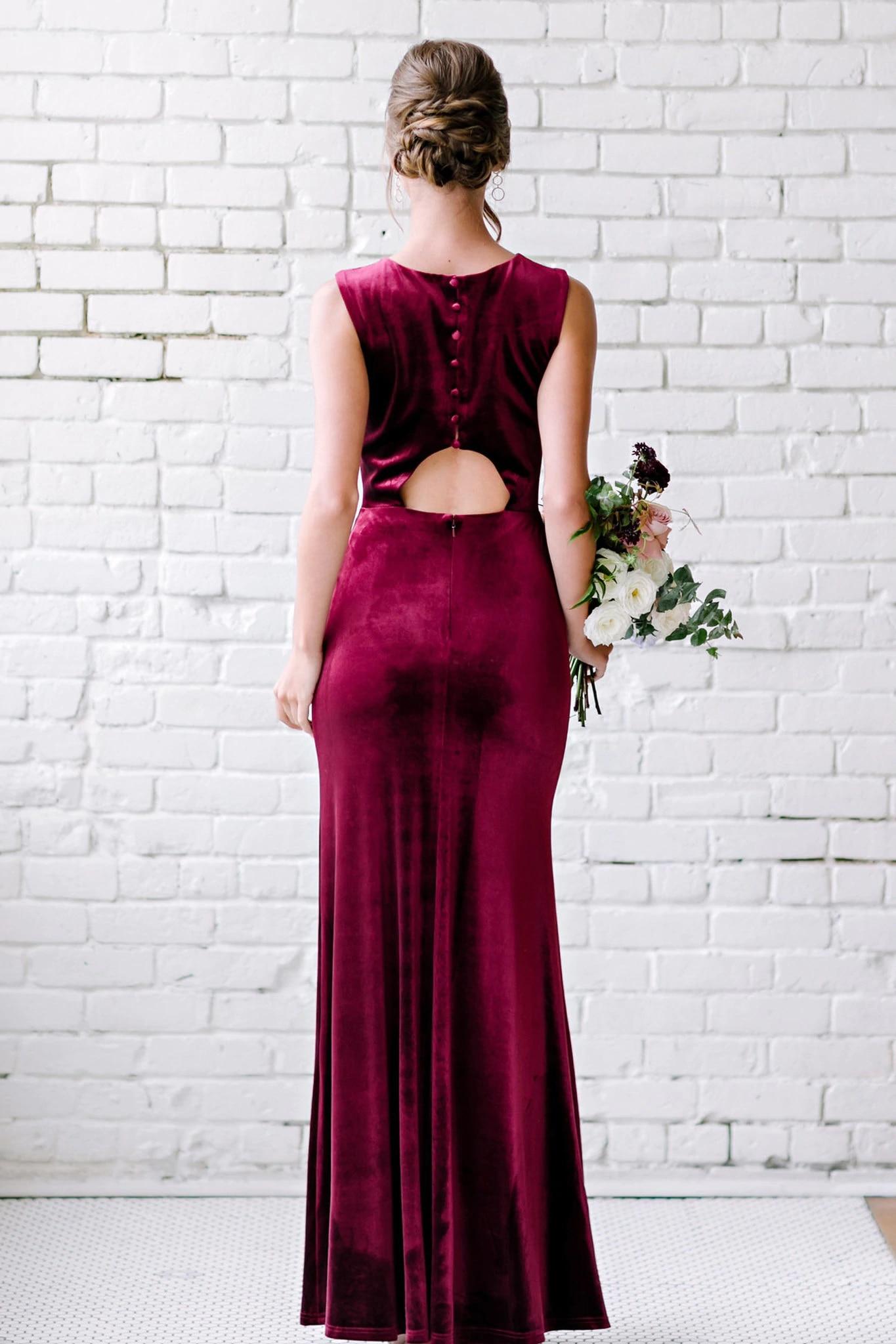 Burgundy Bridesmaid Dresses Long 2020 Velour Mermaid Vestido Madrinha Wedding Guest Dress Vestido De Festa