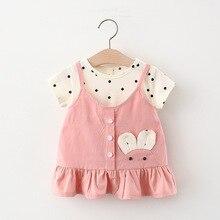 Melario Baby Girls Dress Summer Cute Cartoon Polka Dot Infant Dress Princess Fake Two Dress Fashion Baby Girls Clothing