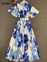 Latest Designer Long Dress 2020 Summer Women Turn down Collar Gradient Blue Color Print Short Sleeve Long Shirt Dress Maxi