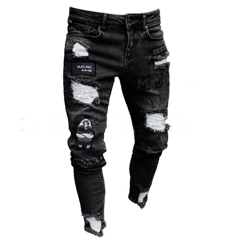 Fashion Men Stretchy Ripped Skinny Hole Jeans Pants Destroyed Frayed Taped Slim Fit Denim Trousers Pants Scratched Jean