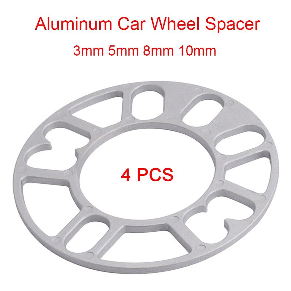 SPEWPRP 4PCS Universal 3mm 5mm 8mm 10mm Aluminum Car Wheel Spacer Shims Plate Fit 4x100 4x114.3 5x100 5x108 5x114.3 5x120
