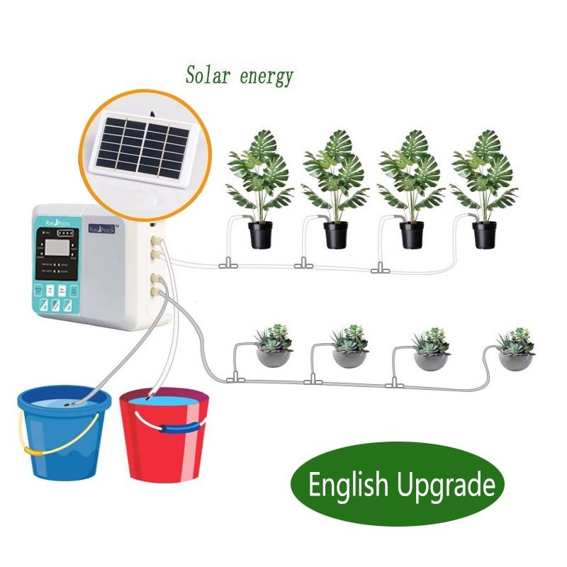 Умная Система капельного орошения сада, автоматическое устройство для полива растений на английском языке, с зарядкой от солнечной энергии...