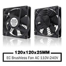 YOUNUON двойной шар 120 мм 12025 EC бесщеточный вентилятор переменного тока 110 в 115 в 120 в 220 в 240 В осевой вентилятор 120x120x25 мм Поставляется с Srews/гриль