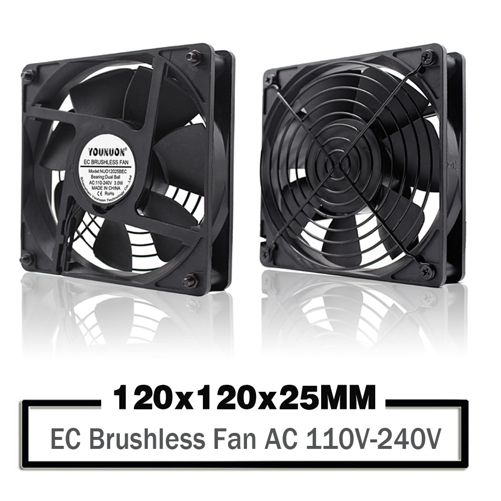 YOUNUON Dual Ball 120mm 12025 EC Brushless Fan AC 110V 115V 120V 220V 240V Axial Fan 120x 120x 25mm Comes with Srews/Grill|Fans & Cooling| |  - title=