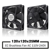 YOUNUON Dual Ball 120mm 12025 EC Brushless Fan AC 110V 115V 120V 220V 240V Axial Fan 120x 120x 25mm Comes with Srews/Grill