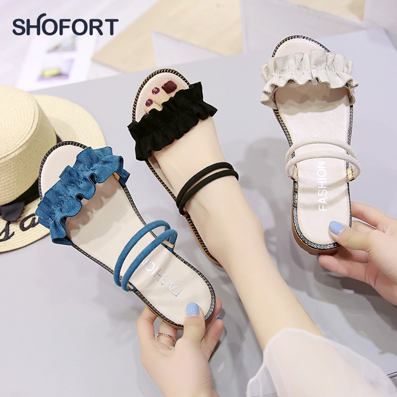 SHOFORT Women Shoes Cool Summer Slippers Fashion Sandals Fairy Style Wild 2020 Summer New Flat Slippers Zapatos De Mujer