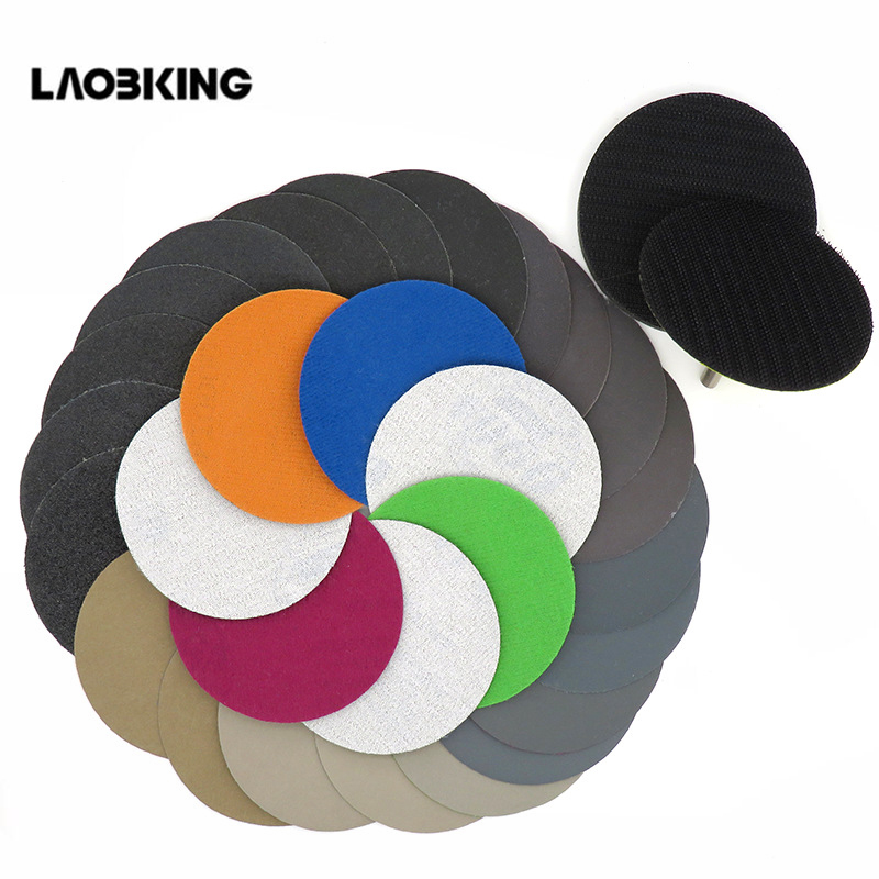 30PCS 3 Inch(75mm) Silicon Carbide Hook&Loop Flocking Waterproof Sanding Discs For Wet/Dry Sanding Round Abrasive Sandpaper