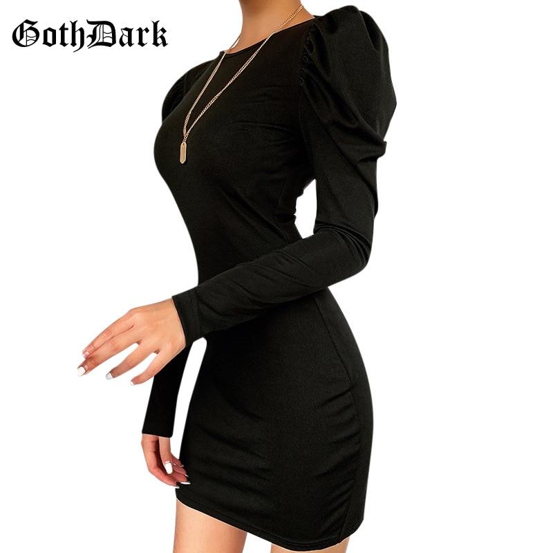 Goth Dark Aesthetic Gothic Vintage Mini Dress Harajuku Puff Sleeve Backless Punk Grunge Female Dress Spring 2020 Egirl Y2K Emo