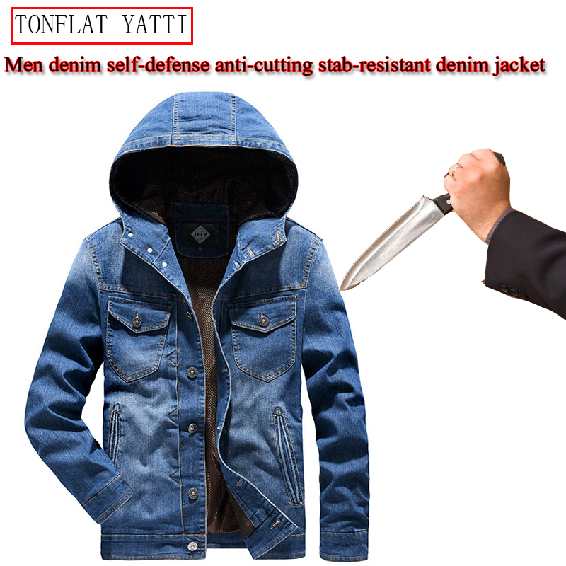 New Men Denim Hooded Jacket Self-defense Anti-cutting Stab-resistant Safety Clothing Invisible Soft Military Tactical Equipment