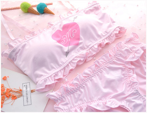 Image 4 - Cute & Sexy Shimapan Kawaii frauen Transparent Süße Amor abdeckung 2 stücke Bh & Höschen Set Lolita Camisoles Set farbe Weiß & Rosa